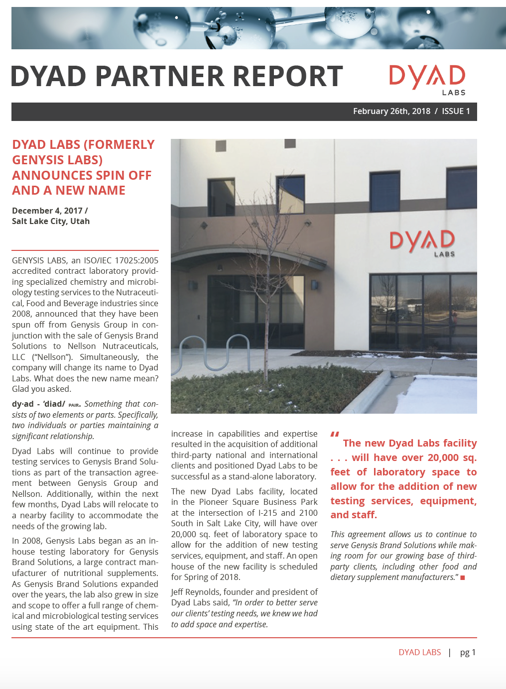 Dyad Partner Report – Dyad Labs
